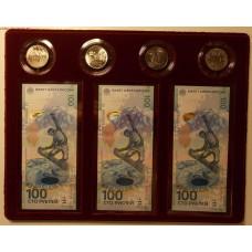 4 памятные монеты и 3 купюры (серии АА, аа и Аа) в планшете. Олимпиада 2014 года г. Сочи